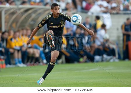 LOS ANGELES - JULY 16: Los Angeles Galaxy D Sean Franklin #5 in action during the World Football Challenge game on July 16 2011 at the Los Angeles Memorial Coliseum in Los Angeles.