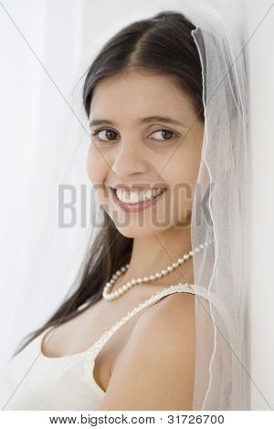 Portrait of Hispanic bride