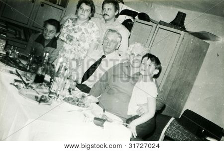 Vintage photo of family parting (eighties)