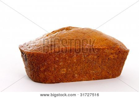 Single Banana Bread Loaf on White Background