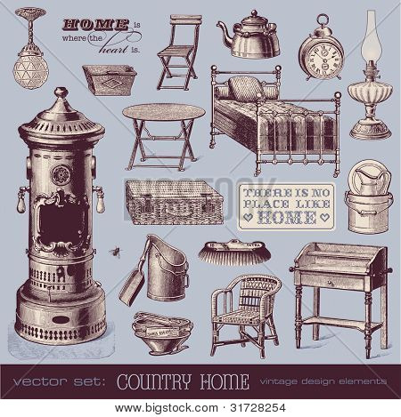 vector set: country home - vintage furniture and household objects