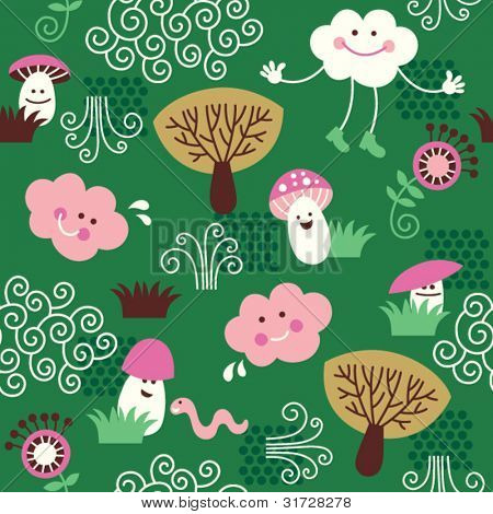 seamless pattern with cute mushrooms, trees and little clouds