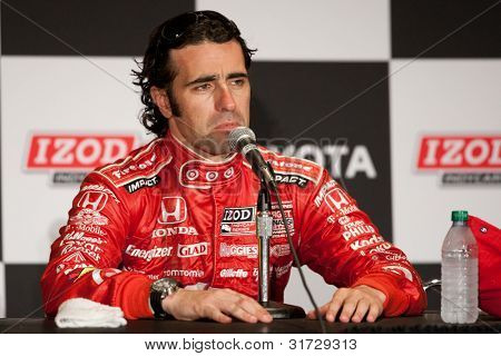 LONG BEACH - APRIL 17: Dario Franchitti driver of the #10 Target Chip Ganassi Racing Honda during the post race press conference of the IndyCar Series Toyota Grand Prix on April 17 2011 in Long Beach.