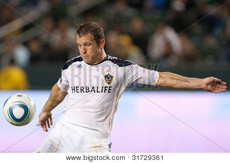 CARSON, CA. - MAY 14: Los Angeles Galaxy F Chad Barrett #11 in during the MLS game between Sporting Kansas City and the Los Angeles Galaxy on May 14 2011 at the Home Depot Center.