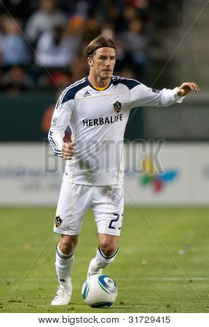 CARSON, CA. - MAY 14: Los Angeles Galaxy M David Beckham #23 in action during the MLS game on May 14 2011 at the Home Depot Center.