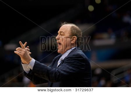 LOS ANGELES - MARCH 10: UCLA Bruins head coach Ben Howland during the NCAA Pac-10 Tournament basketball game on March 10 2011 at Staples Center.