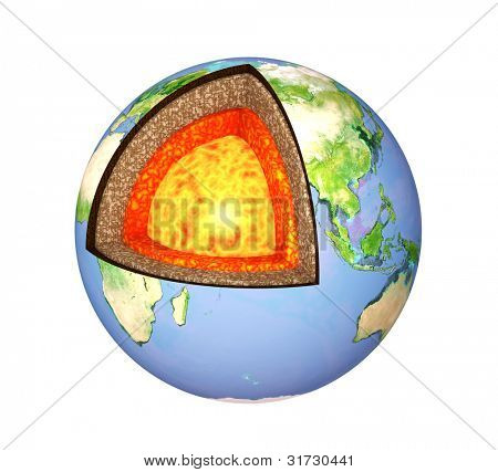 Structure of the Earth. Model isolated over white