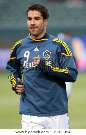 CARSON, CA. - MAY 14: Los Angeles Galaxy F Juan Pablo Angel #9 before the MLS game between Sporting Kansas City and the Los Angeles Galaxy on May 14 2011 at the Home Depot Center.