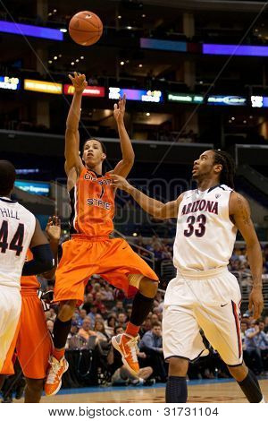 LOS ANGELES - MARCH 10: Oregon State Beavers G Jared Cunningham #1 in action during the NCAA Pac-10 Tournament basketball game on March 10 2011 at Staples Center in Los Angeles.
