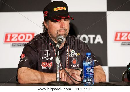 LONG BEACH - APRIL 17: Michael Andretti answers questions during the post race press conference of the IndyCar Series Toyota Grand Prix on April 17 2011 in Long Beach.