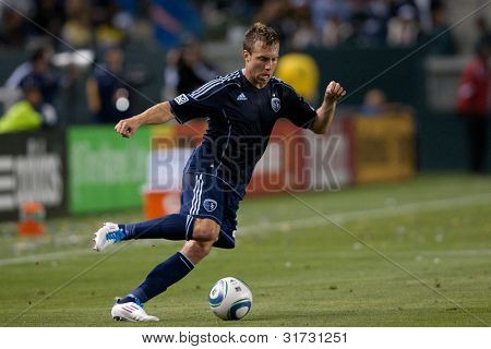 CARSON, CA. - MAY 14: Sporting Kansas City D Michael Harrington #2 in action during the MLS game between Sporting Kansas City & the Los Angeles Galaxy on May 14 2011 at the Home Depot Center.