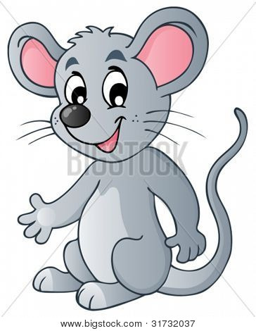 Cute cartoon mouse - vector illustration.
