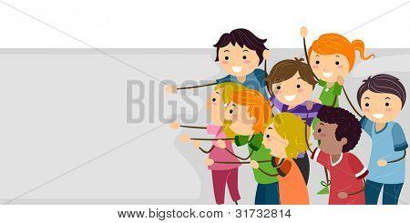 Banner ilustración Featuring alegres niños