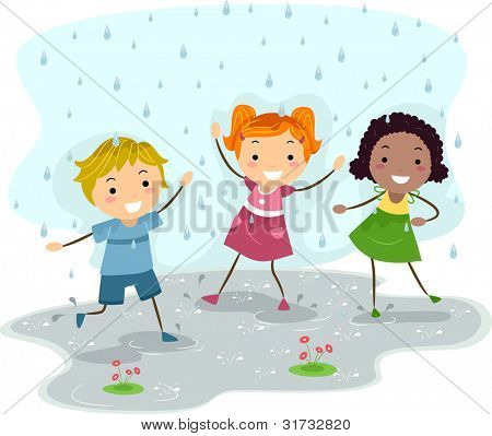 Illustration of Kids Playing in the Rain
