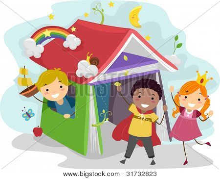 Illustration of Kids Acting Out Stories from a Children's Book