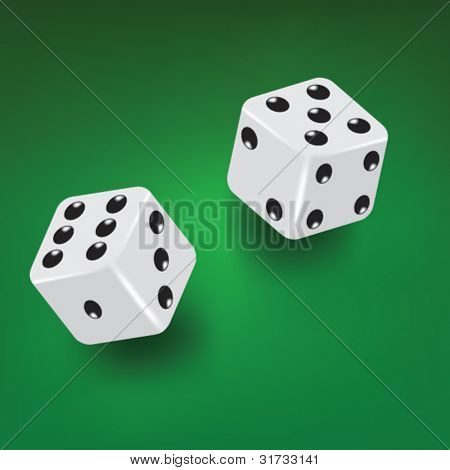 two dices on green table