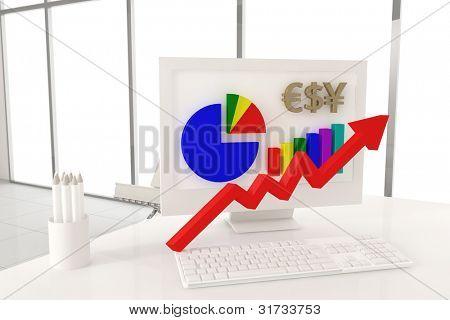 White desk. Economy image.