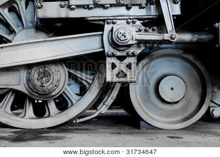 Steam locomotive wheels and rods closeup