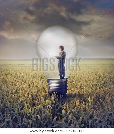 Young man standing in a light bulb on a wheat field