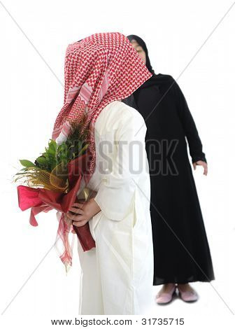 Arabic couple, roses and flowers as surprise