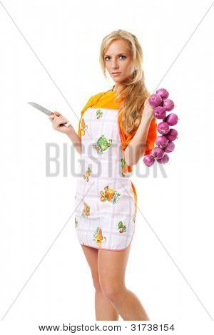 funny housewife isolated on white background