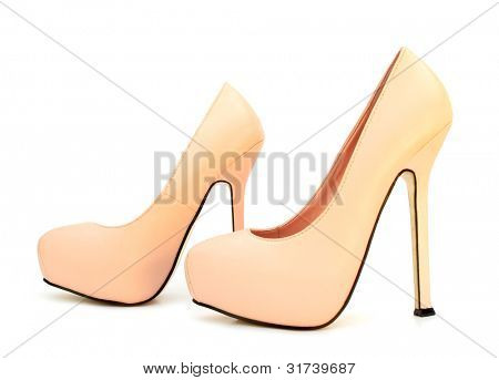 Apricot color high heels pump shoes