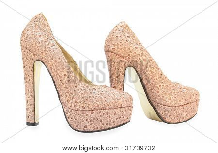 Beige high heels pump shoes with embroidery