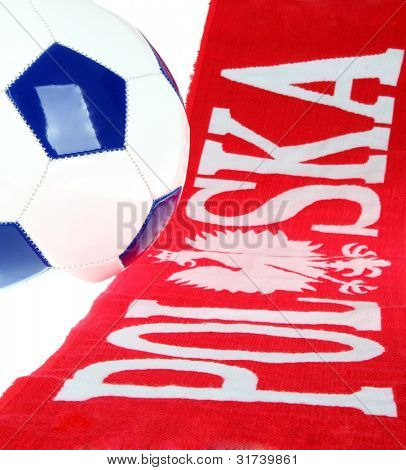 Football Polish symbols: fans scarf and football