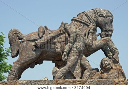 Statue Of A War Horse At Konark Temple