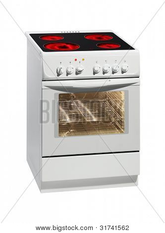Moderna cocina blanco aislado en blanco con trazado de recorte.