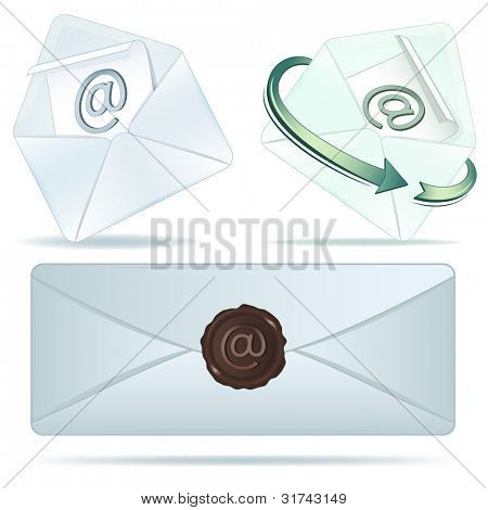 E-mail vector icons isolated on white background.