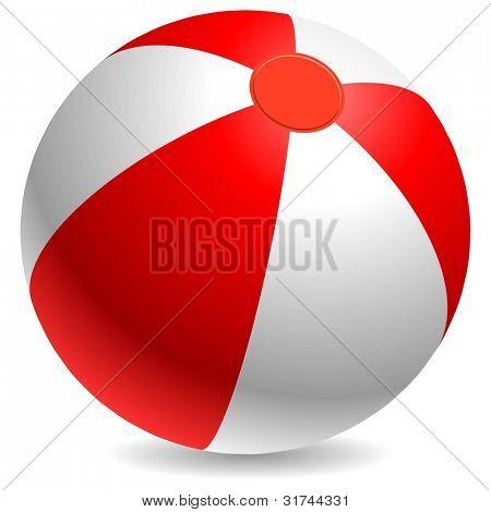 Bola roja y blanca de playa aislado sobre fondo blanco.