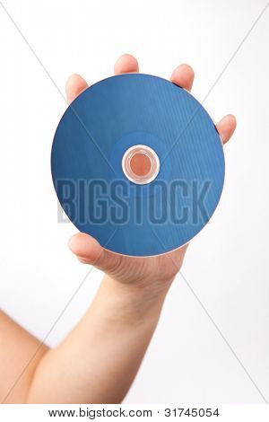 hand holding blu-ray disk, isolated on white