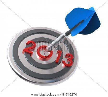 Dart hitting target - New Year 2013. Computer generated 3D photo rendering.
