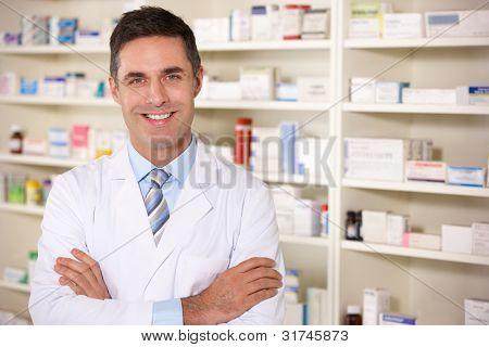 Portrait American pharmacist at work