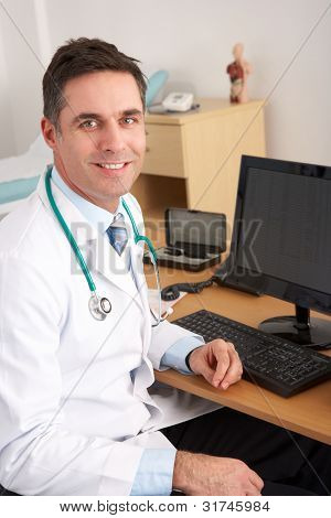 American doctor sitting at desk