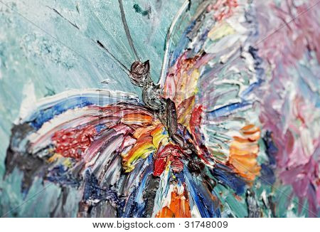 closeup fragment of oil painting butterfly image