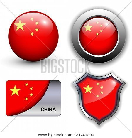 People's Republic of China flag icons theme.