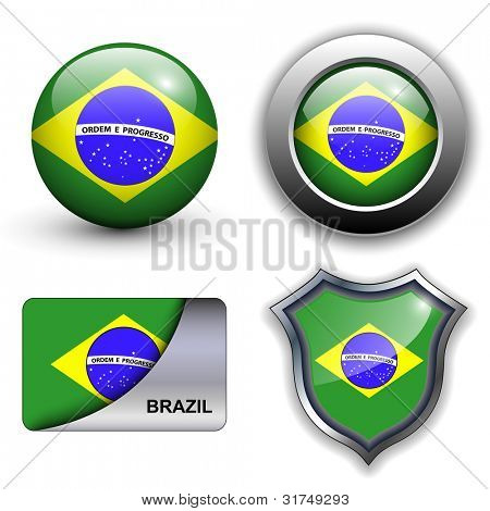 Brazil flag icons theme.