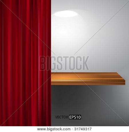 Vector wooden shelf and red curtain.