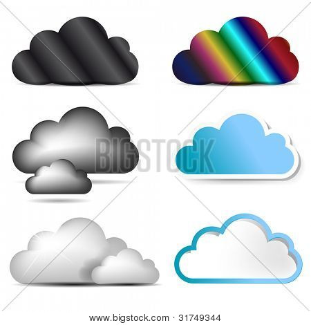 Vector cloud icon set.