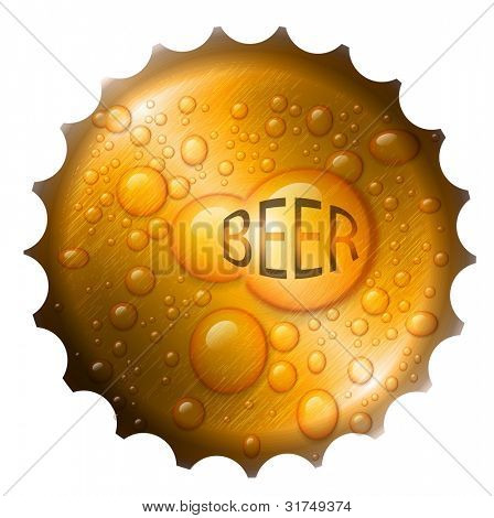 Vector beer bottle cap with drops.