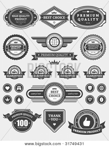 Vintage style retro emblem label collection. Vector design elements.