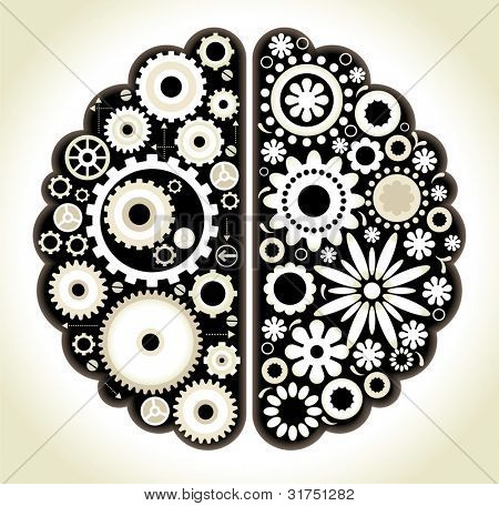 Brain with gears. the concept of logical and associative thinking man