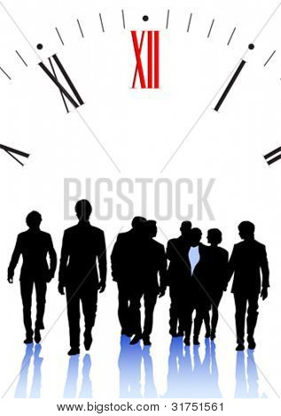 Vector graphic group of businessmen on background of clock