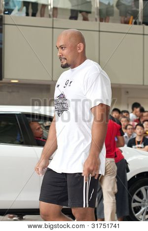 TOA PAYOH, SINGAPORE - MARCH 24 : Contender for Strongman Sulaiman Ismail after the Mazda CX-7 car pull category in the Strongman Challenge 2012 on March 24, in Toa Payoh Hub, Singapore.