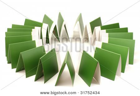 Many green folders isolated on white