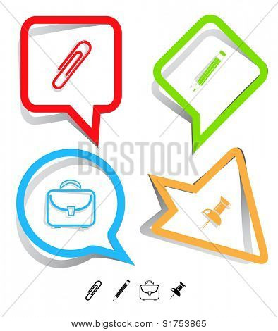Business icon set. Pencil, clip, briefcase, push pin.  Paper stickers. Vector illustration.