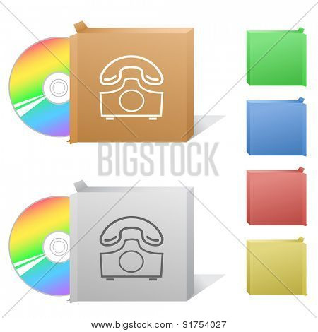 Old phone. Box with compact disc. Raster illustration. Vector version is in my portfolio.
