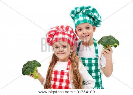 Happy chef kids holding broccoli - isolated